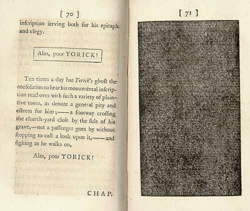 Laurence Sterne, The Life and Opinions of Tristram Shandy, Gentleman, London: 1765-1769, Hepburn 7-15 (pages 70-71 of vol. 1, Hepburn 7) [Image | Glasgow University Library Special Collections Department]